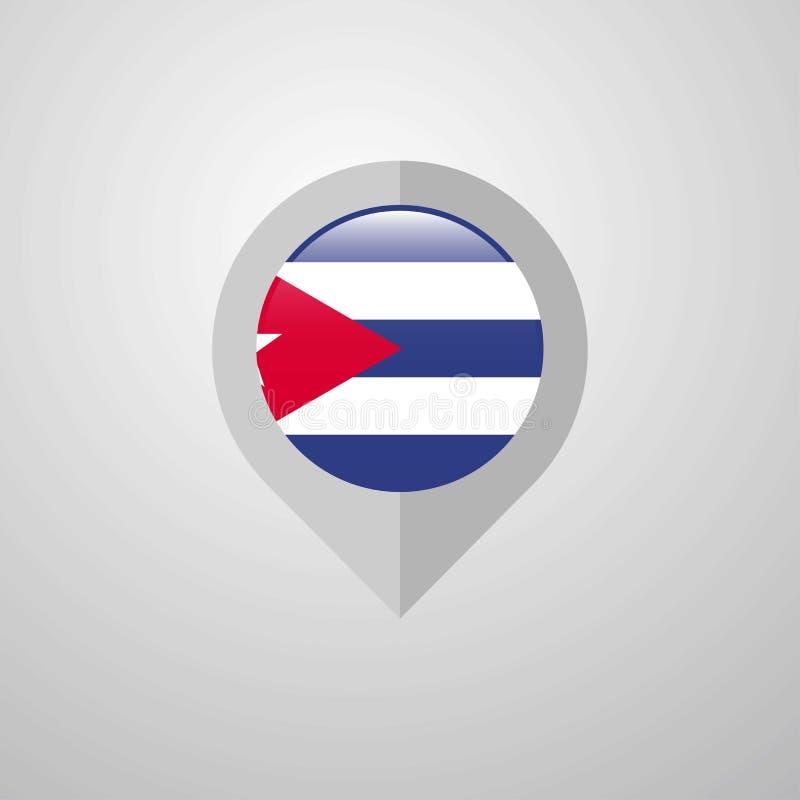 Puntatore di navigazione della mappa con il vettore di progettazione della bandiera di Cuba illustrazione di stock