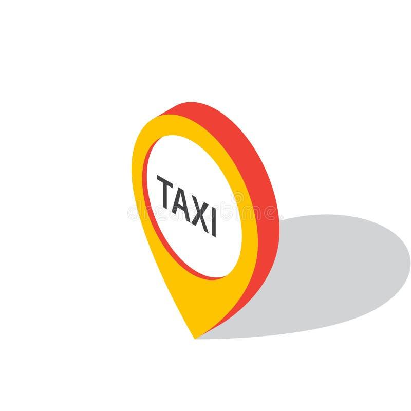 Puntatore isometrico della mappa con il simbolo del taxi Icona del taxi royalty illustrazione gratis