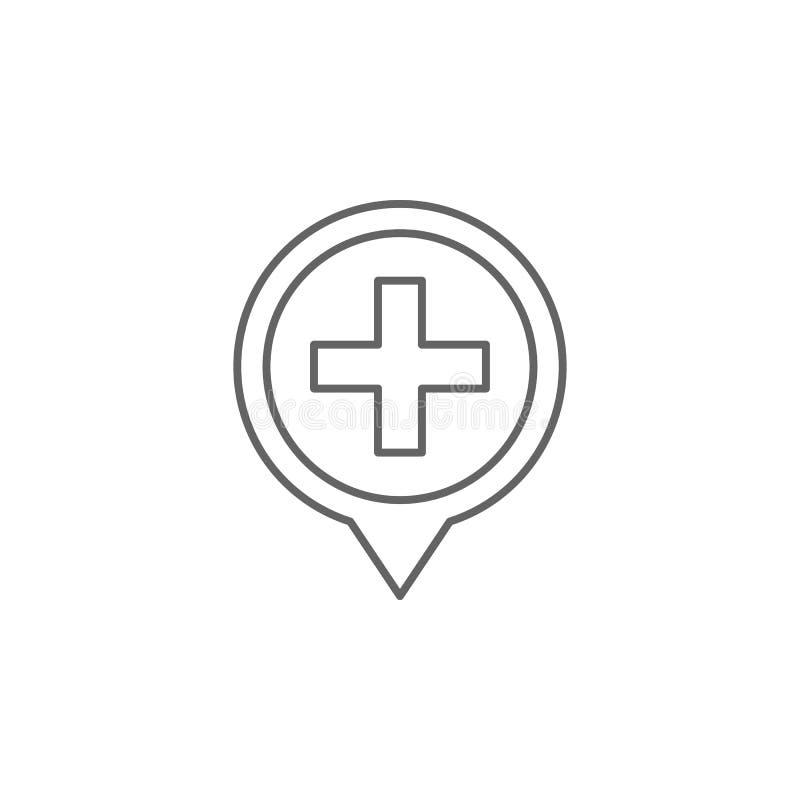Puntatore mappa, icona ospedale Icona elemento della medicina Icona linea sottile illustrazione di stock