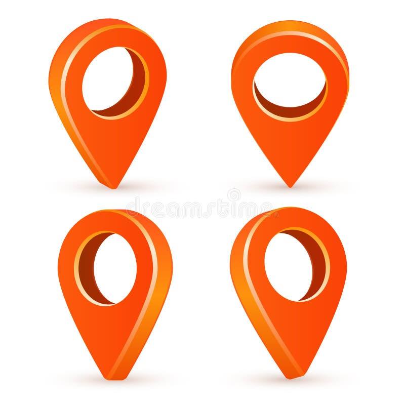 Puntatori arancio della mappa di Seth Icone dei puntatori 3d della mappa Immagine di vettore isolata su un fondo bianco illustrazione vettoriale