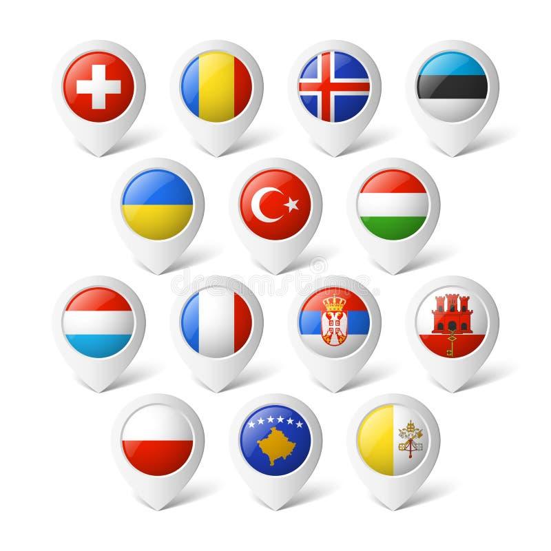 Puntatori della mappa con le bandiere. Europa. illustrazione vettoriale