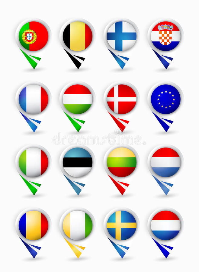 Puntatori della mappa dei membri di Unione Europea con le bandiere Parte 1 illustrazione vettoriale