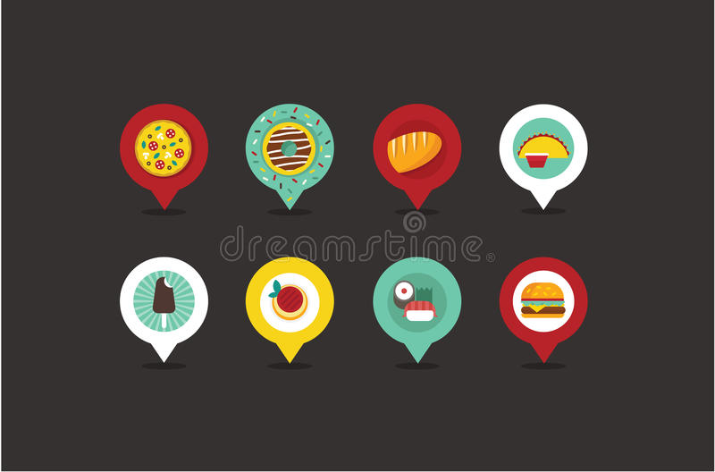 Puntatori della mappa del negozio di alimento royalty illustrazione gratis