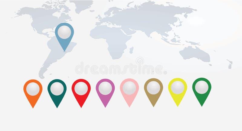 Puntatori variopinti sulla mappa di mondo illustrazione vettoriale