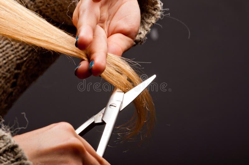 Punte dei capelli del taglio della bionda immagine stock libera da diritti