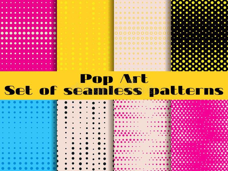 Punteado, modelo inconsútil del arte pop Fondo en estilo del arte pop stock de ilustración