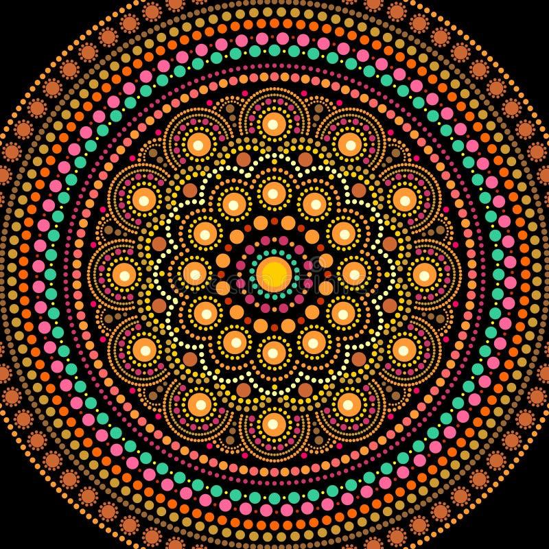 Puntee la mandala en estilo aborigen, ornamento redondo de la pintura ilustración del vector
