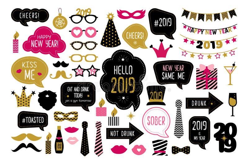Puntelli 2019 della cabina della foto del buon anno illustrazione di stock
