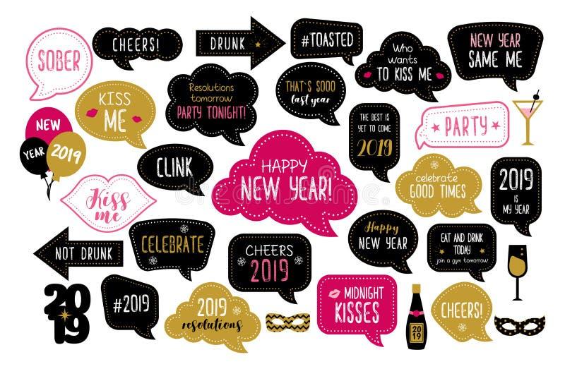 Puntelli 2019 della cabina della foto del buon anno illustrazione vettoriale