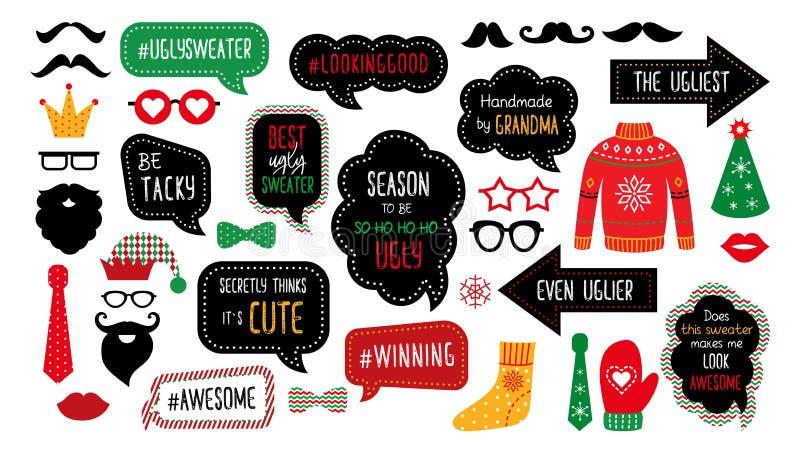 Puntelli tasky brutti della cabina della foto del partito del maglione di Natale illustrazione vettoriale