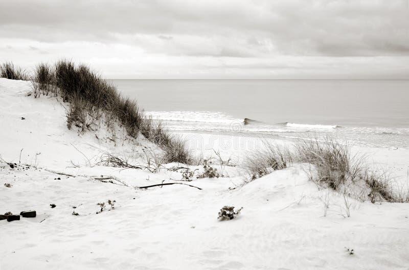 Puntello del Mar Baltico, dune, spiaggia della sabbia, cielo blu immagini stock libere da diritti