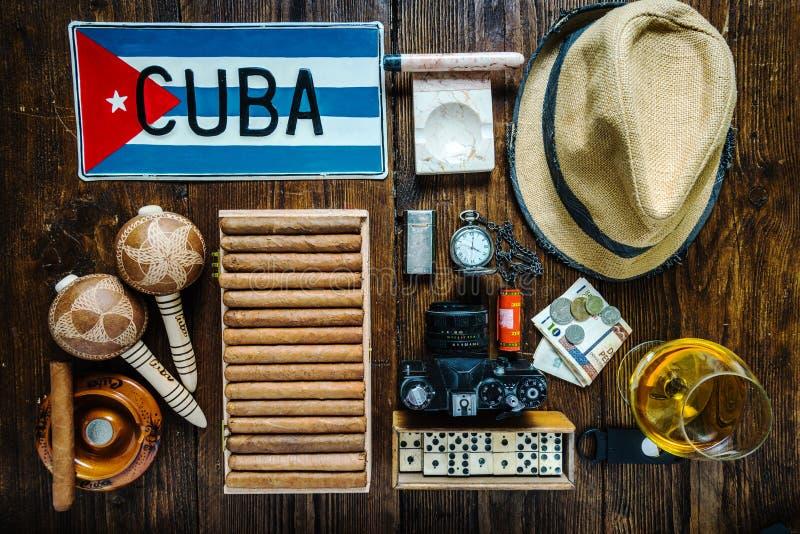 Punten hierboven met betrekking tot reis naar het concept van Cuba, van royalty-vrije stock afbeeldingen