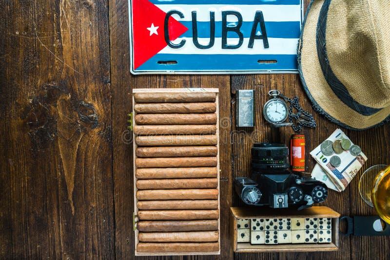 Punten hierboven met betrekking tot reis naar het concept van Cuba, van royalty-vrije stock afbeelding