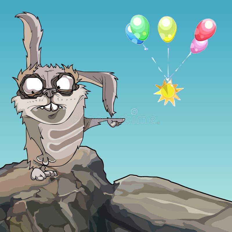 Punten van het beeldverhaal de enge konijn aan multicolored ballons stock illustratie