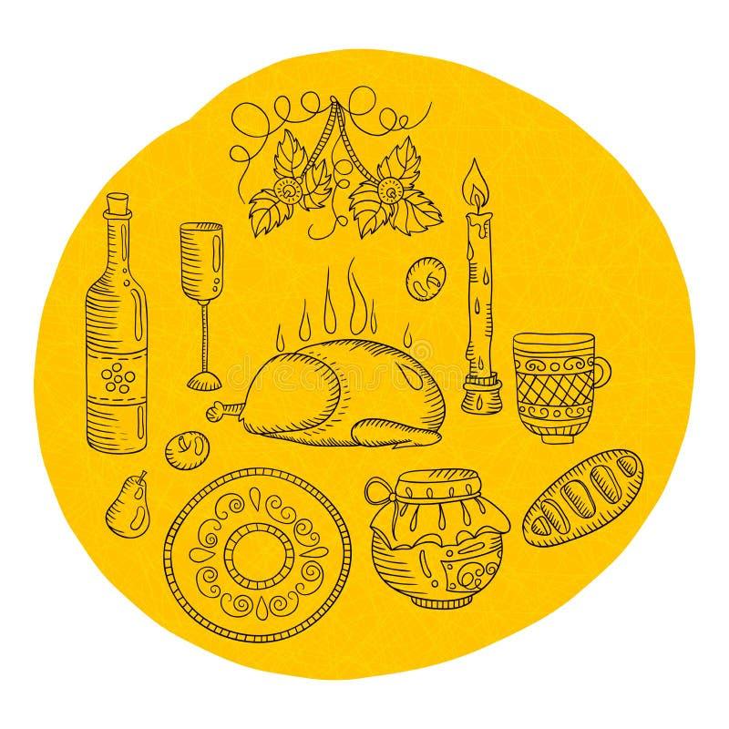 Punten voor de keuken Thanksgiving day Uitstekend keukengerei, decoratieve punten, eend De tekening van de hand royalty-vrije illustratie