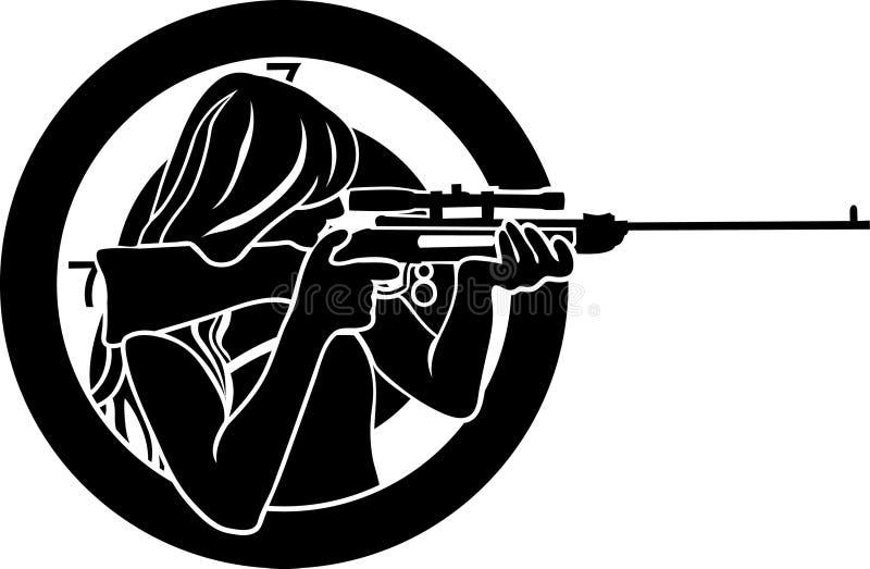 Punterías de la muchacha de un rifle stock de ilustración