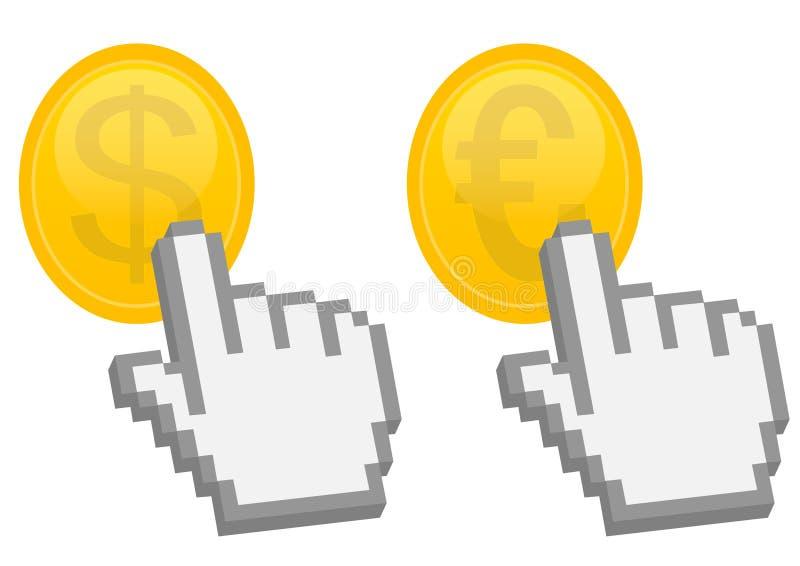 Puntero de la mano en dólar y moneda euro stock de ilustración