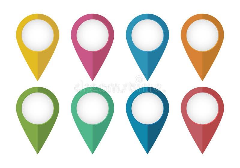 Puntero De Ubicación: Punteros De La Localización Ilustración Del Vector