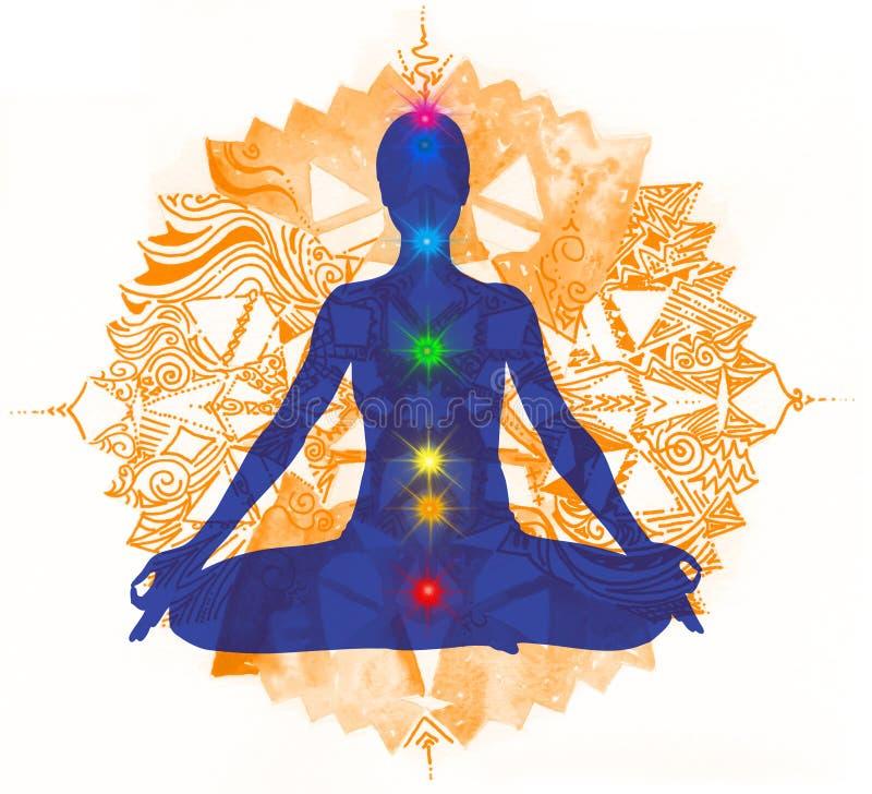 Punti 2 di posa e di chakra del loto illustrazione vettoriale