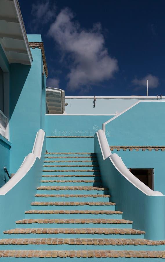 Punti blu del mattone e dello stucco fotografia stock