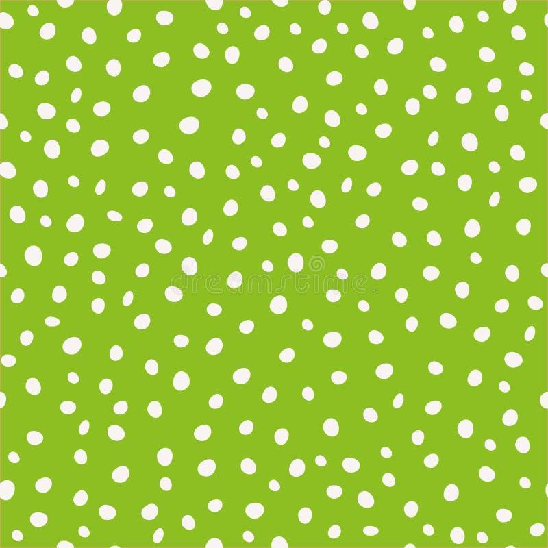 Punti circolari disegnati a mano bianchi della pittura nella progettazione sparsa Modello senza cuciture di vettore su fondo verd illustrazione di stock