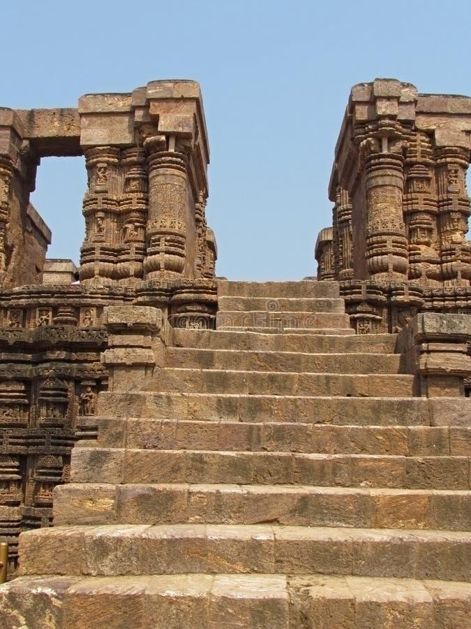 Punti del tempio di pietra antico, Konark, India immagini stock