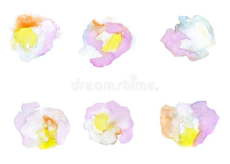 Punti dell'acquerello isolati su bianco Illustrazione disegnata a mano royalty illustrazione gratis