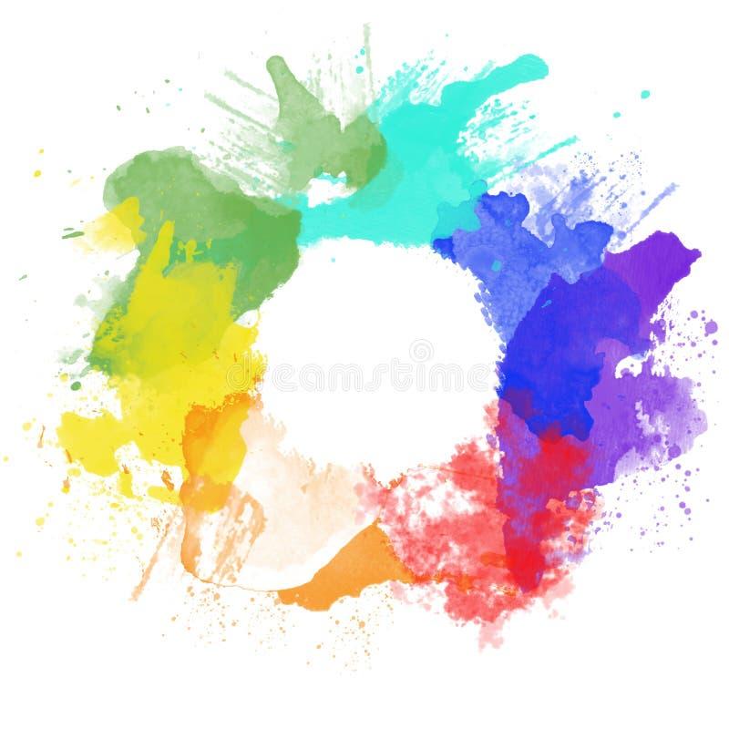 Punti dell'arcobaleno dell'acquerello illustrazione vettoriale