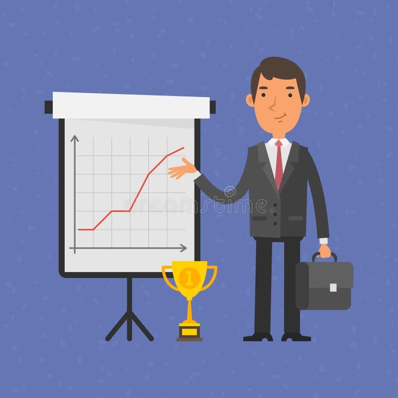 Punti dell'uomo d'affari sul vibrazione-grafico con il grafico illustrazione di stock