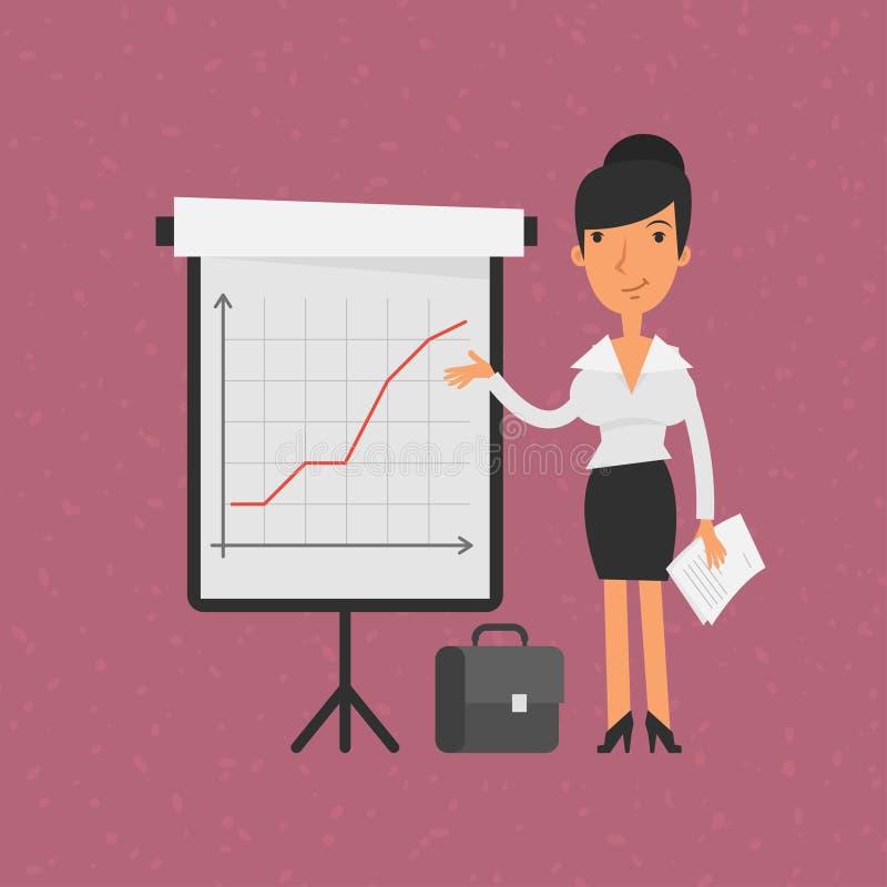 Punti della donna di affari sul vibrazione-grafico con il grafico illustrazione di stock