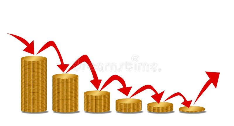 Punti di caduta dei soldi con le frecce sopra bianco illustrazione vettoriale