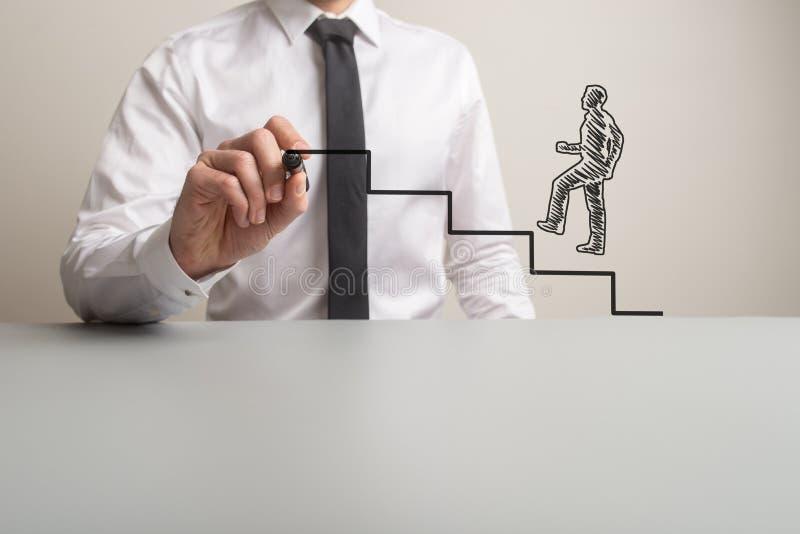 Punti di disegno dell'uomo d'affari affinchè un uomo d'affari disegnato a mano scalino immagine stock libera da diritti
