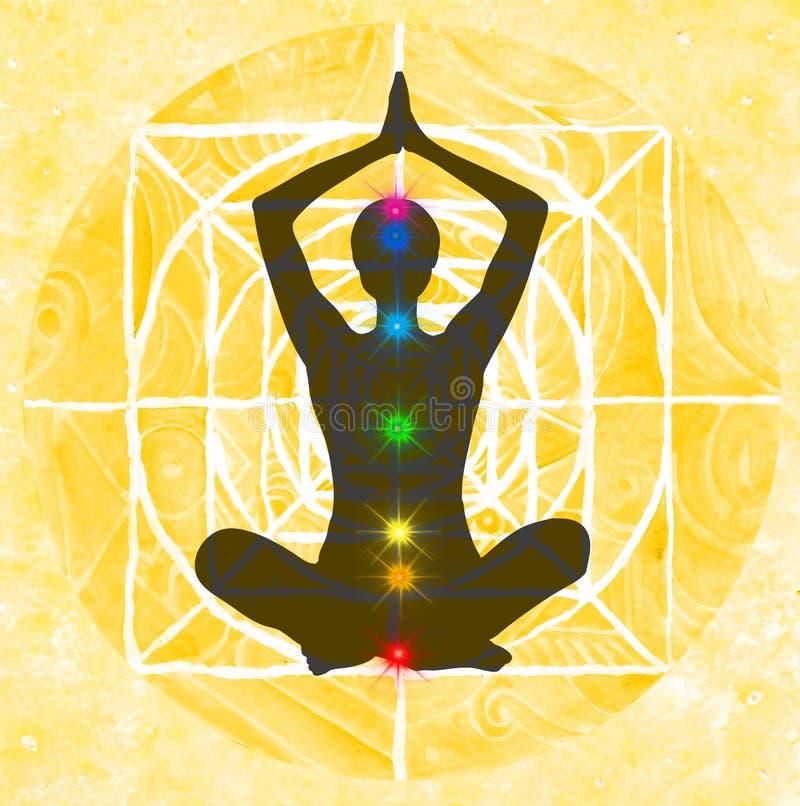 Punti di posa e di chakra del loto royalty illustrazione gratis
