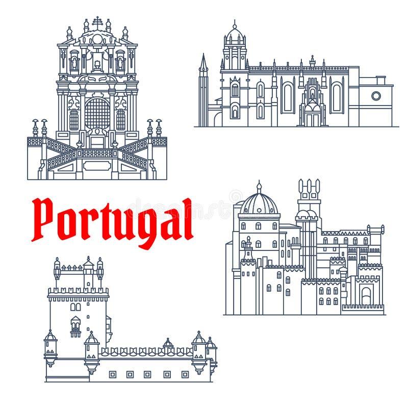 Punti di riferimento architettonici di viaggio dell'icona del Portogallo royalty illustrazione gratis