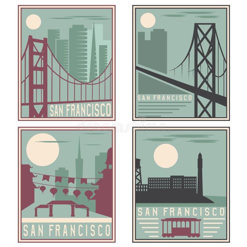 Punti di riferimento d'annata di San Francisco dei manifesti di vecchio stile retro illustrazione vettoriale
