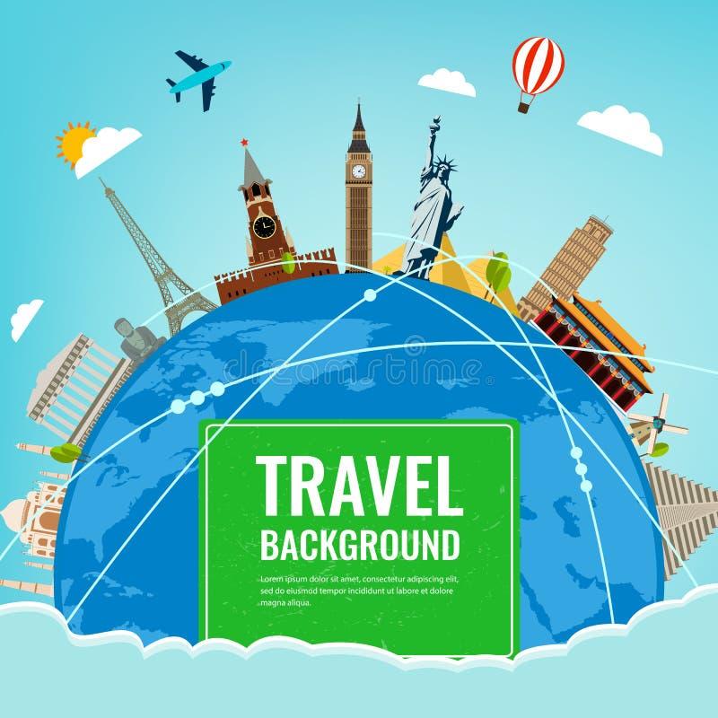 Punti di riferimento del mondo Fondo di turismo e di viaggio Vettore royalty illustrazione gratis