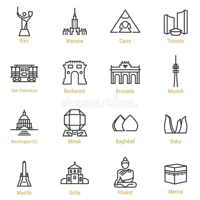 Punti di riferimento del mondo - linea icona di vettore messa - parte III immagini stock