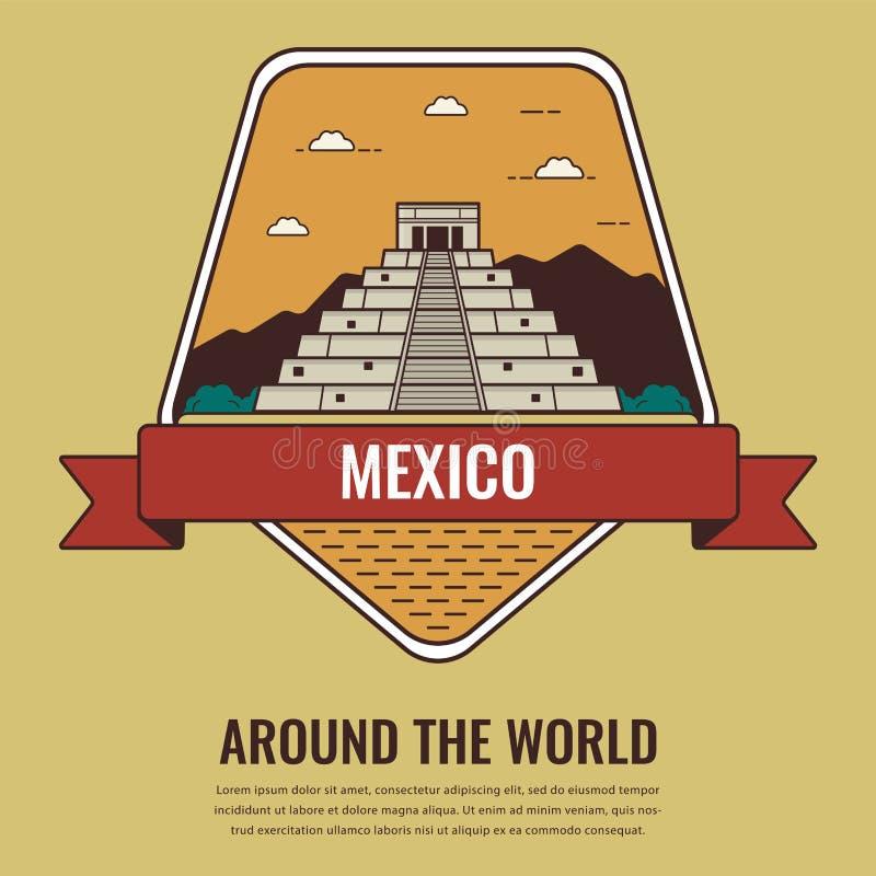 Punti di riferimento del mondo mexico Fondo di turismo e di viaggio Linea stile di arte Vettore illustrazione vettoriale