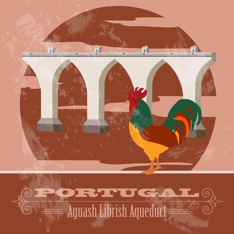 Punti di riferimento del Portogallo Retro immagine disegnata illustrazione di stock