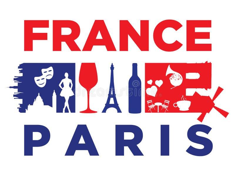 Punti di riferimento della bandiera e della siluetta della Francia illustrazione di stock