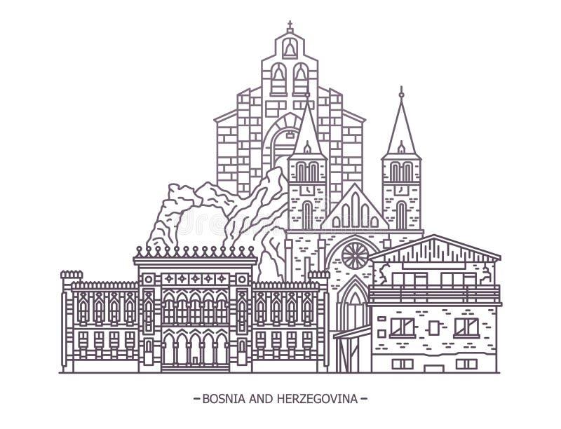 Punti di riferimento della Bosnia-Erzegovina illustrazione di stock