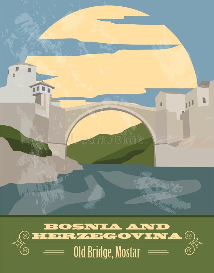 Punti di riferimento della Bosnia-Erzegovina Retro immagine disegnata illustrazione vettoriale