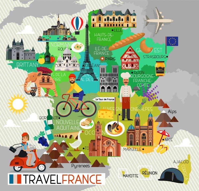 Punti di riferimento della Francia e mappa di viaggio Icone di viaggio della Francia Illustrazione di vettore royalty illustrazione gratis