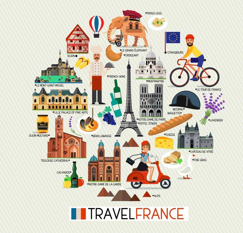 Punti di riferimento della Francia e mappa di viaggio Icone di viaggio della Francia Illustrazione di vettore illustrazione di stock