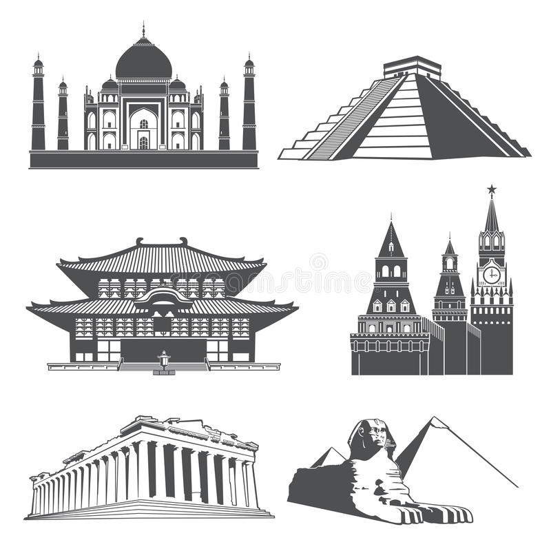 Punti di riferimento della siluetta di viaggio con l'insieme famoso di vettore dei monumenti del mondo illustrazione vettoriale