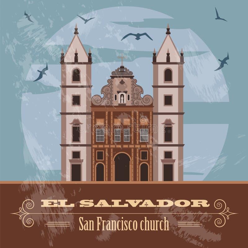 Punti di riferimento di El Salvador Mompos, Colombia Retro immagine disegnata illustrazione di stock