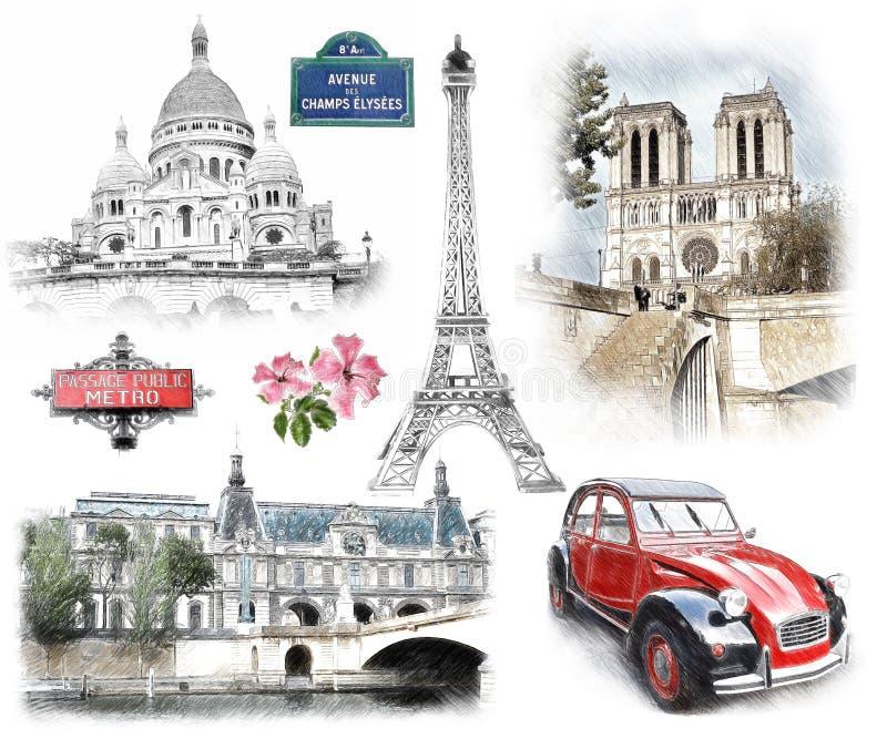 Punti di riferimento di Parigi Illustrazione nel tiraggio, stile di schizzo illustrazione di stock