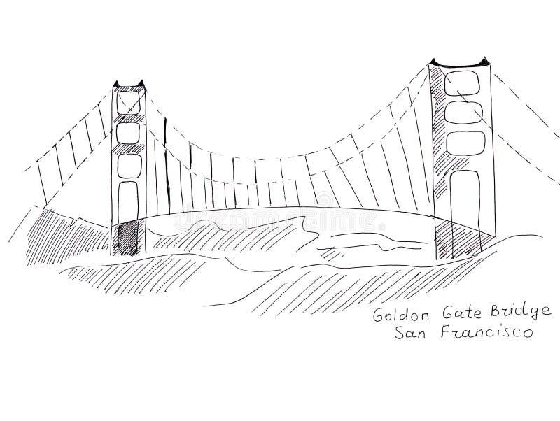 Punti di riferimento di schizzo dell'illustrazione di San Francisco: Golden gate bridge illustrazione vettoriale