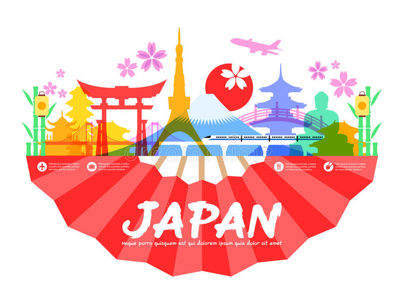 Punti di riferimento di viaggio del Giappone illustrazione vettoriale