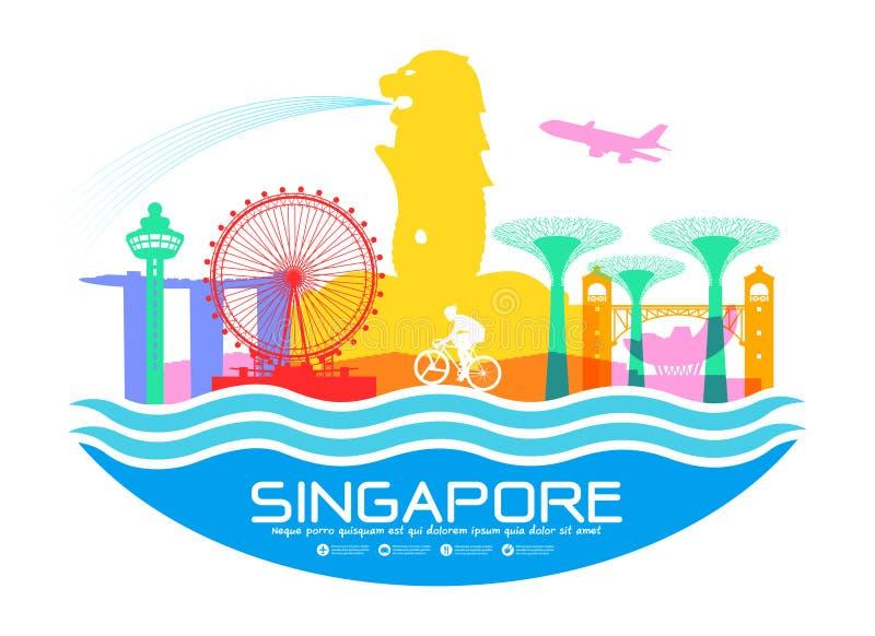 Punti di riferimento di viaggio di Singapore illustrazione vettoriale